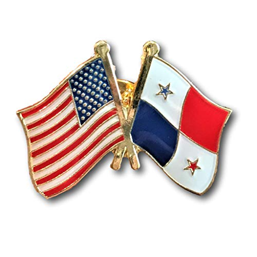 Backwoods Barnaby USA-Panama Friendship Pin/American Panamanian Crossed Flags Broach