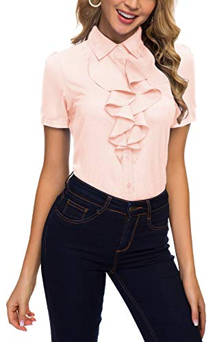 ACONIYA Womens Vintage Long/Short Sleeve Lotus Ruffled Casual Work Shirt Chiffon Blouse Tops,SS,Pink,2XL
