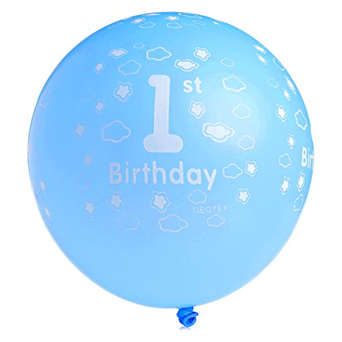20pcs Printed Ballons First Birthday Party Decor (Blue) - 4
