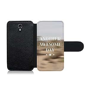 Funda carcasa de cuero para Samsung Galaxy S4 frase Another awesome day