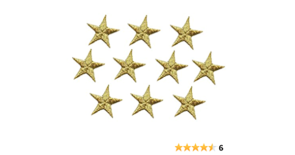 Iron-on Gold Stars Embroidered Patches Set of 12 Appliques