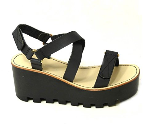 Sandalias de verano con suela de plataforma, sandalias cuñas con plataformas Black (4073-80)