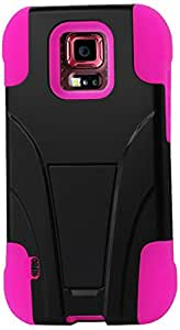 Reiko Silicon Hard Hybrid Kickstand Case for Samsung Galaxy S5 Sport (Sprint)- Retail Packaging - Hot Pink/Black