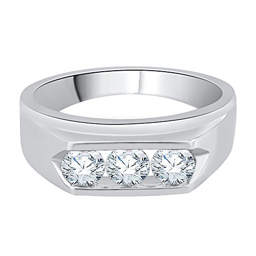 KATARINA 3 Diamond Men's Ring Channel Set in 14K White Gold (1 cttw) (Color-GH, Clarity-I2)