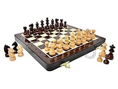 House of Chess - 10 Inch Wooden Magnetic Folding Travel Chess Set / Board with 2 Extra Knights, 2 Extra Pawns, 2 Extra Queens and Algebraic Notation - Handmade - Premium Quality
