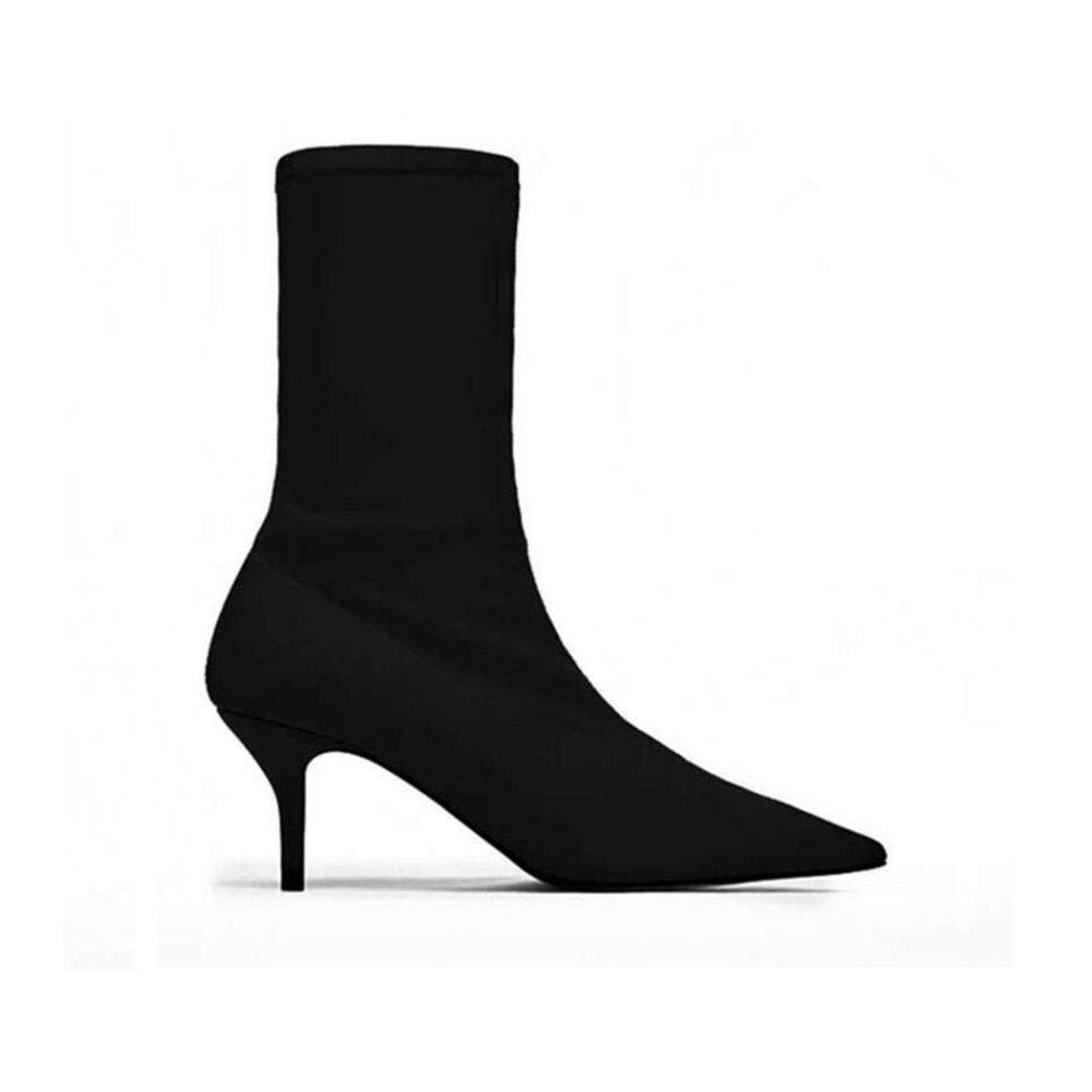 Black Women's Booties, New Spring and Autumn Pointed Boots, Stiletto High-Heeled Elastic Boots, LadiesAnkle Boots and Short Boots Large Size shoes (color   Black, Size   43)