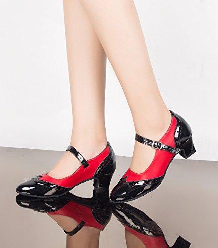 Señoras Áspero Con Cómodos Zapatos De Baile Zapatos De Baile Chalumba América Chia Rojo de 5 cm.