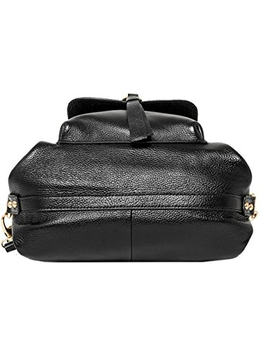 Backpack Backpack for Leather Black Geniune Womenss Black amp; Fashion school qCEwHOxO1