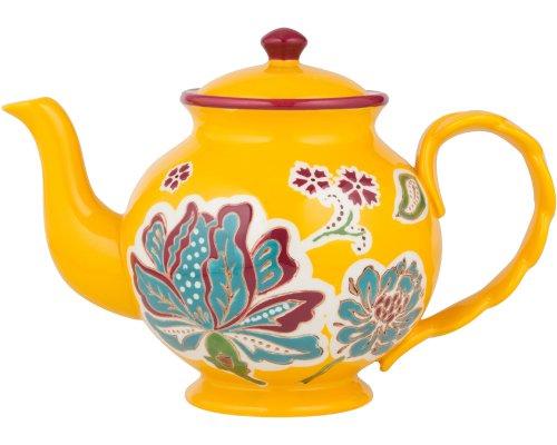 Gracie China holandés cera pintura a mano cerámica 6-cup tetera Floral dorado Teal