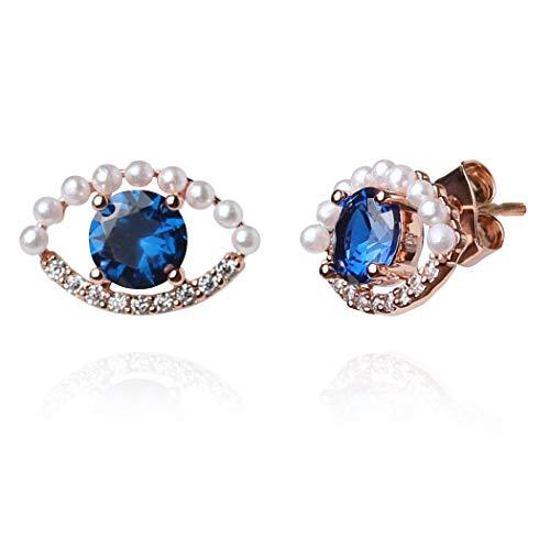 (Doro Kimi Evil Eye Sapphire Cubic Imitation Pearl silver stud Earrings (LSE075))