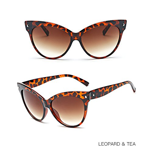 TIANLIANG04 La Color Brillante Gafas W De De Para TEA Mujer Señorita W Grey De Vidrio Ojos Sol Leopard Negro Gato xrrYp6qw