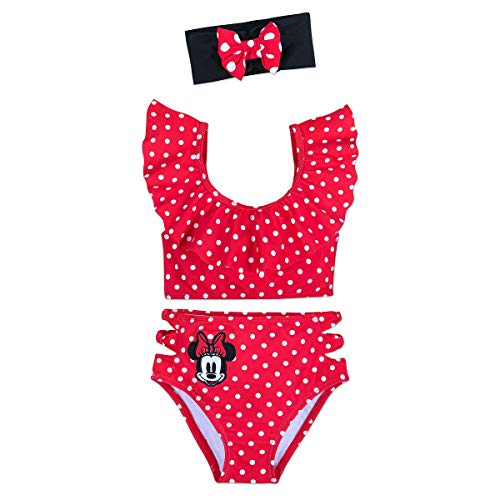 Disney Minnie Mouse 3-Piece Deluxe Swimsuit for Girls Red