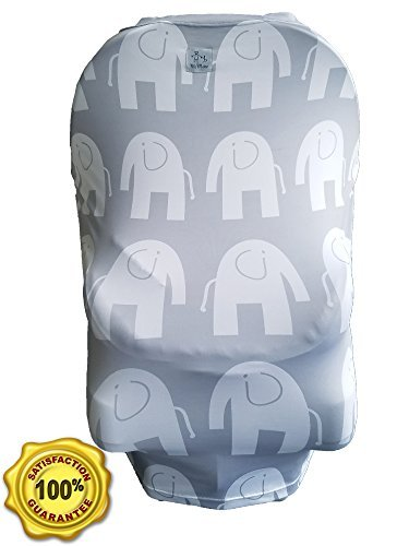 MoM-me Baby Car Seat Cover, Multi use for Nursing Scarf, Breastfeeding, Canopy, Stroller and Infant Pillow Wrap or Cover Ups. For Boys and Girls. Gray/White Elephant Design by MoM-me (Image #8)