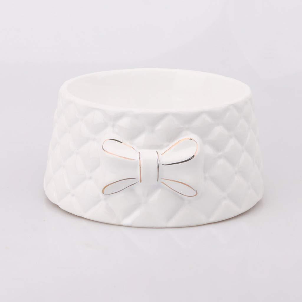 Cute Ceramic Bowknot Pet Cat Food Dog Bowl Rice Bowl
