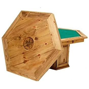 Rustic Solid Wood Game Table With Hideaway Top   Star Poker Table