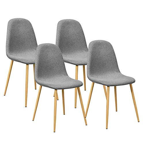 Giantex Set of 4 Kitchen Dining Chairs, Easily Assemble Modern Fabric Cushion Seat Chair w/Metal Legs, Mid Century Armless Chairs for Kitchen, Dining Room, Restaurant, Gray