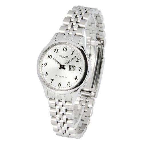 Elegante MARQUIS Damen Funkuhr (Junghans-Uhrwerk) Gehäuse und Armband aus Edelstahl 964.4780