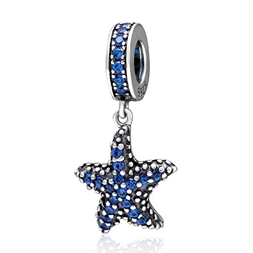 Crystal Charm 925 Sterling Silver Ocean Charm Animal Charm Sea Charm for Pandora Bracelet (Starfish) ()