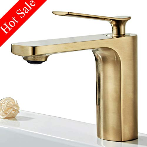 - Modern Single Handle Bathroom Basin Faucet Laundry Vanity Sink Faucet Brushed Nickel Gold Finish Lavatory Faucet