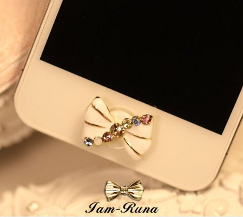 Big Mango Cute White Crystal Bow Iphone Home Return Key Button Sticker / Cell Phone Charms for Apple Iphone 5 5s 5c Iphone 4 4s Ipod Touch Ipad 2 iPad 3 iPad 4 iPad Air Tablet Replace Replacement (Ipod 5c Cases For Protective)