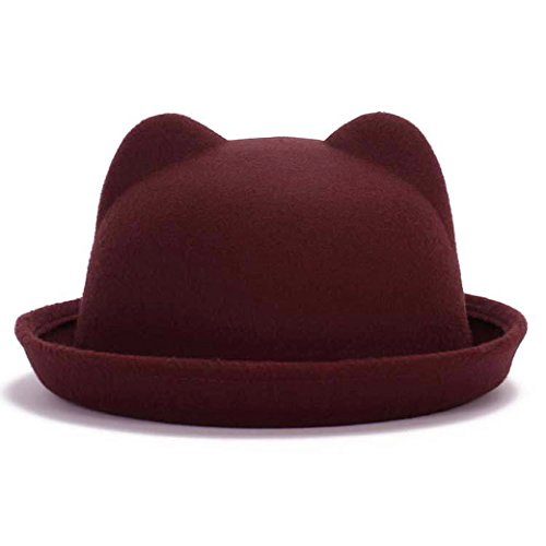 Lujuny Cute Cat Ear Bowler Hats - Wool Fedora Derby Caps with Roll-up Brim for Women Youth (Wine Red) ()