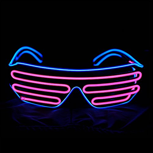 Glow LED Glasses Light Up Shades Flashing Rave Festival Party Neon EL Wire *FUN*
