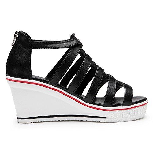 Tennis Sneakers Montante Mode Compensées Padgene été Toile Chaussures noir Femme Baskets Casuel qXwTCH
