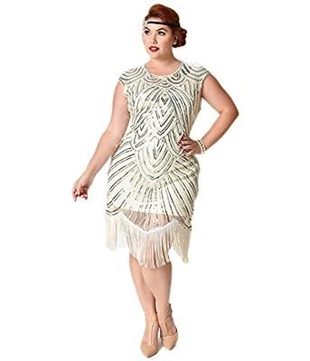 Unique Vintage Plus Size Cream & Silver Sequin Cap Sleeve Lucie Fringe Flapper Dress