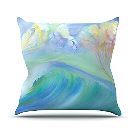 Kess InHouse Theresa Giolzetti Jelly Fish Throw Pillow 16 by 16 Blue Teal