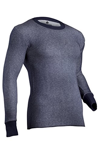 Thermal Hydropur - Indera Men's Tall Dual Face Raschel Knit Performance Thermal Underwear Top with Silvadur, Navy, Large