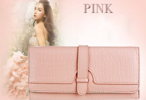 KLOUD City® Pink synthetic leather drawstring style double button women wallet