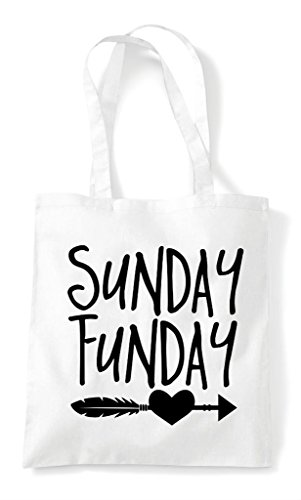 White Sunday Funday Bag Tote Statement Feather Heart Shopper Z0wqZHAr
