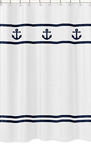 anchors away nautical navy and white kids bathroom fabric bath shower curtain