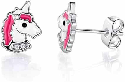 872981e79 VOLUKA 18K White Gold Plated Unicorn Stud Earrings for Girls Hypoallergenic  (Nickel Free)