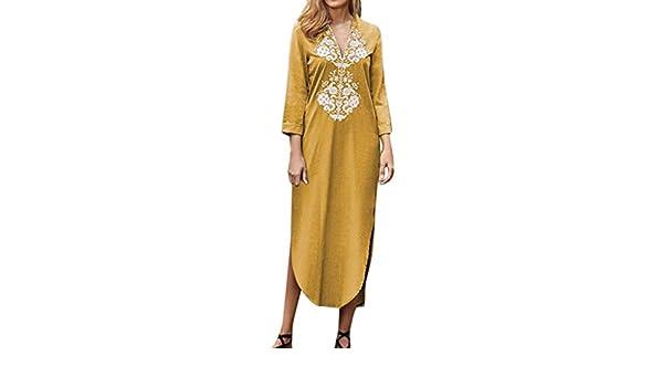 Vestido Recto Bohemio para Mujer Vestido Largo con Cuello en V y Manga Larga Vestido/sevillana/Mujer Boho Vintage Fiesta Cocktail