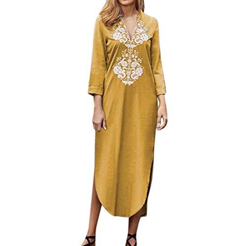 ♥ HebeTop ♥ Women's Ethnic Cotton V-Neck Short Sleeveless Linen Lace Dress Yellow