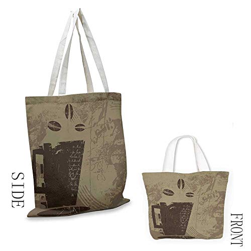 Canvas tote Coffee Grunge Weathered Mug Silhouette with Aromatic Java Beans for Breakfast Doll bag 16.5