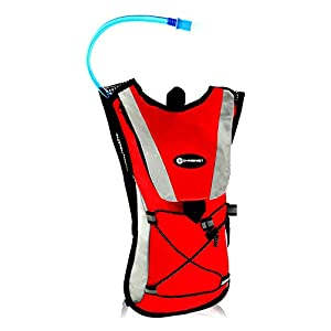 Gymenist Hydration Running Pack Backpack Includes A Water Pouch (Red)