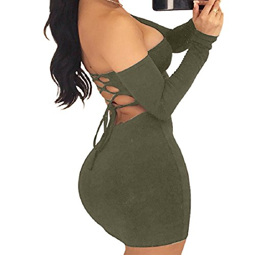 Dress Back Sleeve Long Sexy Party Hollowed Oversize Green Evening Women Coolred Tube Army vwfCqRR