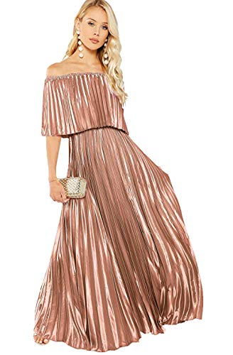 Milumia Women's Casual Off The Shoulder Layered Ruffle Party Beach Baby Shower Long Maxi Dress Rose-Gold Small