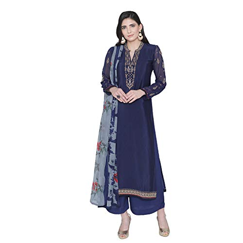 (PinkShink Women's Readymade Blue Crepe Indian/Pakistani Salwar Kameez)
