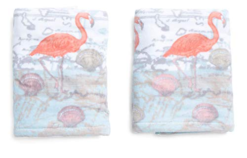 Sage Island Spa Flamingo Hand Towel Set Coastal Beach Shells Coral Gray (Coral Flamingo)