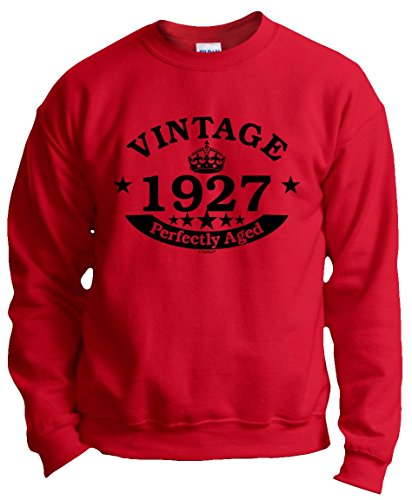 90th Birthday Gifts for Brother 90th Birthday Gift Vintage 1927 Perfect Aged Crown Crewneck Sweatshirt 2XL Red