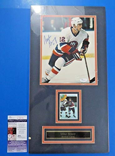 Mike Bossy Autographed Signed Memorabilia 8x10 Photo & 1978 Topps Rookie Card Mounted 11X21 JSA COA