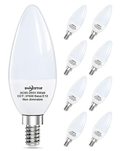 8-Pack Warm White Ceiling Fan Light Bulbs 60 watt Equivalent, 2700K E12 Led Candelabra Bulbs, Soft White Chandelier Bulbs, Type B Small Base, Non-dimmable