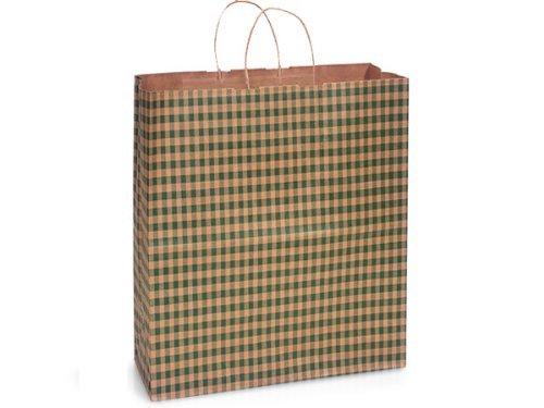Nashville Wraps Shopping Gift Bag 25 Count - Kraft Gingham - Hunter - Queen by Nashville Wraps