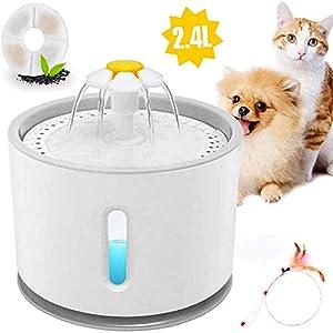 E-MANIS Fuente para Perros Gatos,2.4L Fuente de Agua Silenciosa para Mascotas con La luz del LED,Flor Portátil Estilo Bebedero Mascotas para Perros y Pequeños Animales,1pcs Palo de Gato emplumado