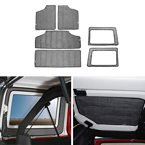 JeCar Grey Heat Insulation Cotton Pad Hardtop Headliner Roof and Rear Window Insulation Kit 2012-2017 for Jeep Wrangler 4 Door ()