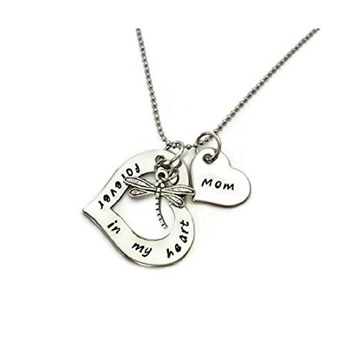 "Sympathy necklace for ""Mom"" with dragonfly and heart"