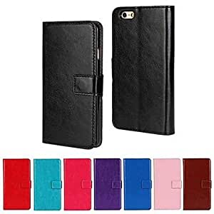 JAJAY Solid Color PU Leather Full Body Cover with Stand and Card Slot for iPhone 6 Plus , Dark Blue